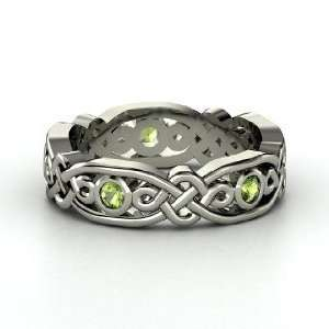 Brilliant Alhambra Band, 14K White Gold Ring with Green
