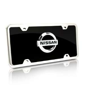Nissan Black Acrylic License Plate with Chrome Frame Kit