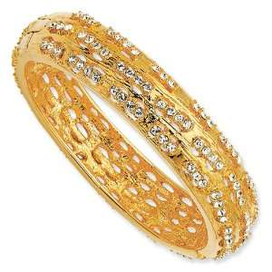 Gold plated Swarovski Crystal Dashes Bangle Bracelet   8