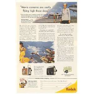 1953 Kodak Movie Cameras Airline Stewardess Print Ad Home