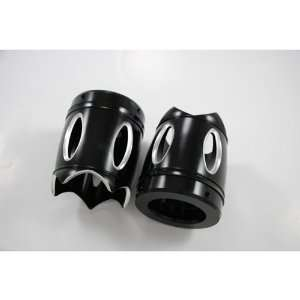 Reverse Cut 4 Black Exhaust Tips for Harley with Rinehart Exhausts