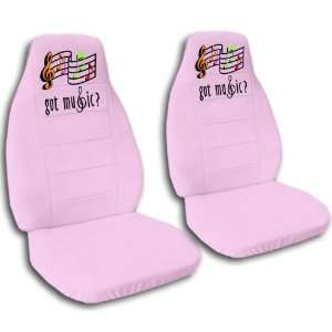 Sweet Pink seat covers with Music Notes for a 2006 to 2011 Chevrolet