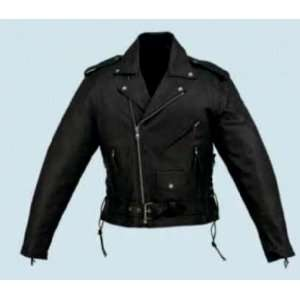 Mens Basic Leather Motorcycle Jacket W/ Side Laces & Zipout Liner (54)