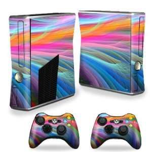 Xbox 360 S Slim + 2 Controller Skins Skins  Rainbow Waves: Video Games