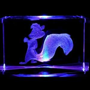Le Pew 3D Laser Etched Crystal includes Two Separate LEDs Display
