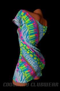 Punky Neon UV GLOW 80s Print Off SHoulder Sexy Clubwear Lycra Mini