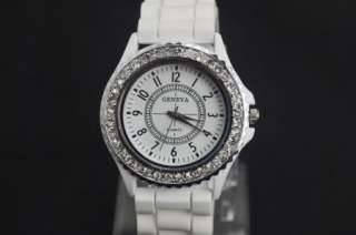 Girls Ladies Women Gift White Fashion Silicone Crystal Quartz Wrist