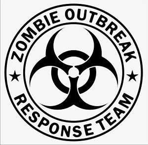 Large ZOMBIE OUTBREAK RESPONSE TEAM Bio Hazard Decal 14 Sticker car