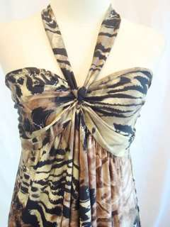 New Womens Party Leopard Brown Halter Strap Smocked Long Maxi Dress