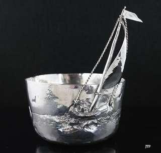 Interesting Arts & Crafts German Silver Sailing Cup