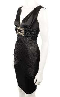 Black Satin Beaded Cocktail Pencil Dress NEW size 8