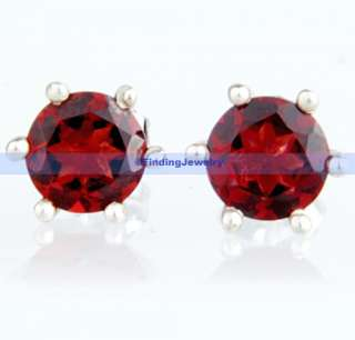 Fancy Silver 1.8CT Round Red Garnet Stud Earrings  AAA SERVICE