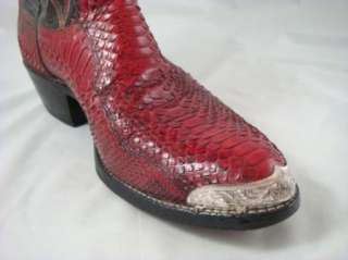 Vintage Dan Post Mens Snakeskin Western Red Cowboy Boots Metal Toe