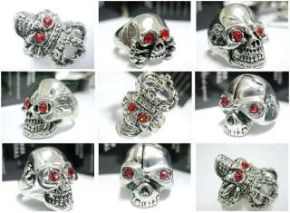 12pcs cool mens skull Red stone stainless steel ring