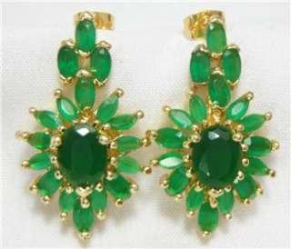 12,995 18k 14k gf Emerald Green Stones Necklace bracelet earrings Set