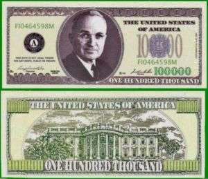 100 Factory Fresh Harry Truman 100,000 Dollar Bills