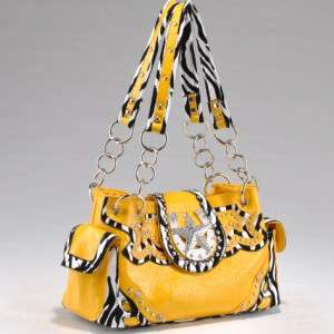 Western and Zebra Print Studded Rhinestone Star Horseshoe Handbag