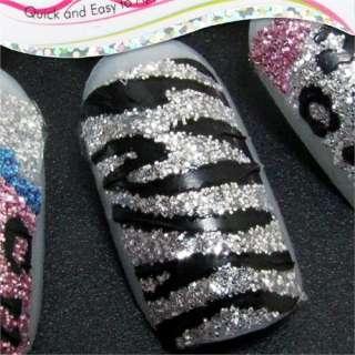 GR050 Black Zebra Glitter Nail Art Tip 3D Sticker Decal