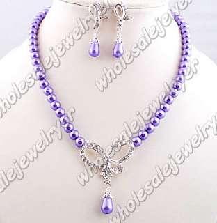 lot 6set rhinestone&imitation pearl Necklace+Earring