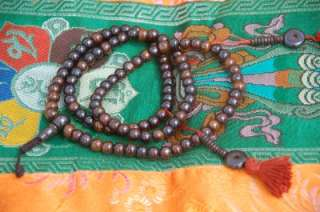 DARK YAK BONE MALA 108 BEADS WITH BONE COUNTERS FOR MEDITATION