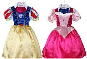 Disney Snow White & Aurora REVERSIBLE COSTUME Dress Up 3 10Yrs