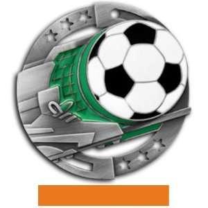 Hasty Awards Custom Soccer Color Medals M 545S SILVER MEDAL/ORANGE