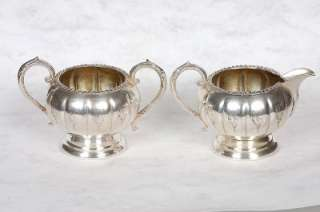 OLD ENGLISH REPRODUCTION 4 PIECE SILVER PLATE TEA/COFFEE SET