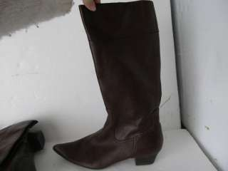 FRANCO SARTO   9.5 Womens brown leather tall boots w/ zipper, pointed