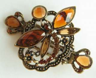VARY COLORS VINTAGE SWAROVSKI CRYSTAL BRONZE DRAGONFLY HAIR CLAW CLIP
