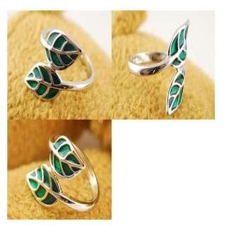 Vintage Retro Fashion Alloy Cross Green Leaves Leaf Trail Ring