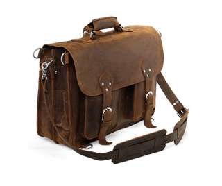 Extra Large 18 Vintage Style Leather Briefcase Messenger Laptop Bag