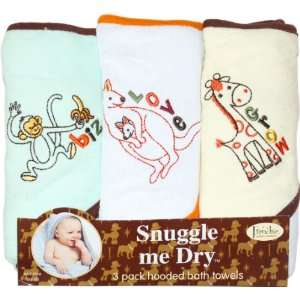 Mini Couture Wild Animal Hooded Bath Towel Set, 3 Pack, Neutral Baby