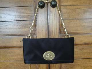 EXC COACH*12926 BLACK SATIN AMANDA CONVERTIBLE EVENING BAG KISSLOCK