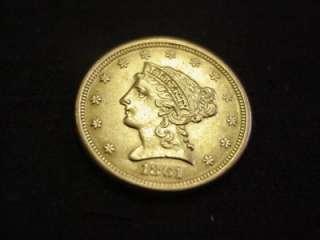 1861 $2.50 LIBERTY HEAD 1/4 EAGLE GOLD UNCIRCULATED WOW