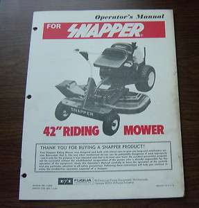SNAPPER 42 RIDING MOWER OPERATOR MANUAL