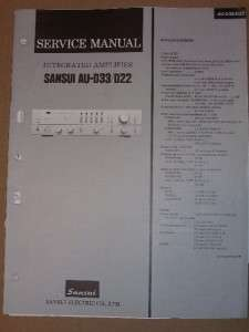 Sansui Service/Repair Manual~AU D33/D22 Amplifier Amp