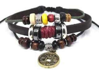 Charm Black Leather Bracelet Wristbands Wholesale A215