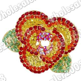 6pcs Flower Rhinestone Crystal Golden Brooches 25692