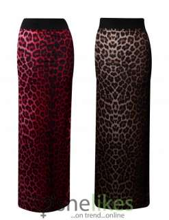 Womens Gypsy Long Jersey Maxi Dress Skirt Ladies Animal Leopard Print