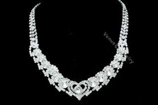 Wedding Prom Rhinestone Crystal Necklace Earrings Set 2258