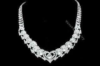 Wedding Prom Rhinestone Crystal Necklace Earrings Set 2258