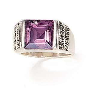 Sterling Silver Marcasite And Amethyst Ring (Size 6