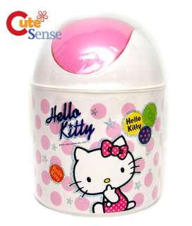 Sanrio Hello Kitty Mini Trash Can/ Bin  7.5 Pink Dots
