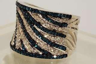 2500 1.53CT ROUND CUT BLACK & WHITE DIAMOND RING SIZE 9.75