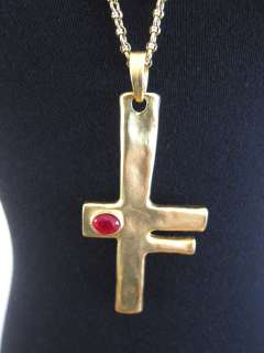 BNWOT KENNETH JAY LANE GOLD CHAIN NECKLACE WITH CROSS W/RUBY PENDANT