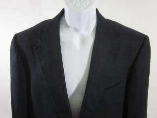 ERMENEGILDO ZEGNA Mens Wool Navy Blue Plaid Blazer 48