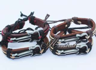 2pcs Fashion Alloy guitar Charm Leather Hemp Braided Bracelet