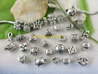 40 Tibetan silver mixed beads fit charm bracelet W3492