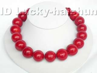 GENUINE 100% NATURAL 22MM ROUND RED CORAL NECKLACE