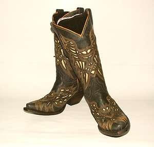 320 Womens Lucchese Resistol Ranch Boots M3582 Black Glitter Calf w
